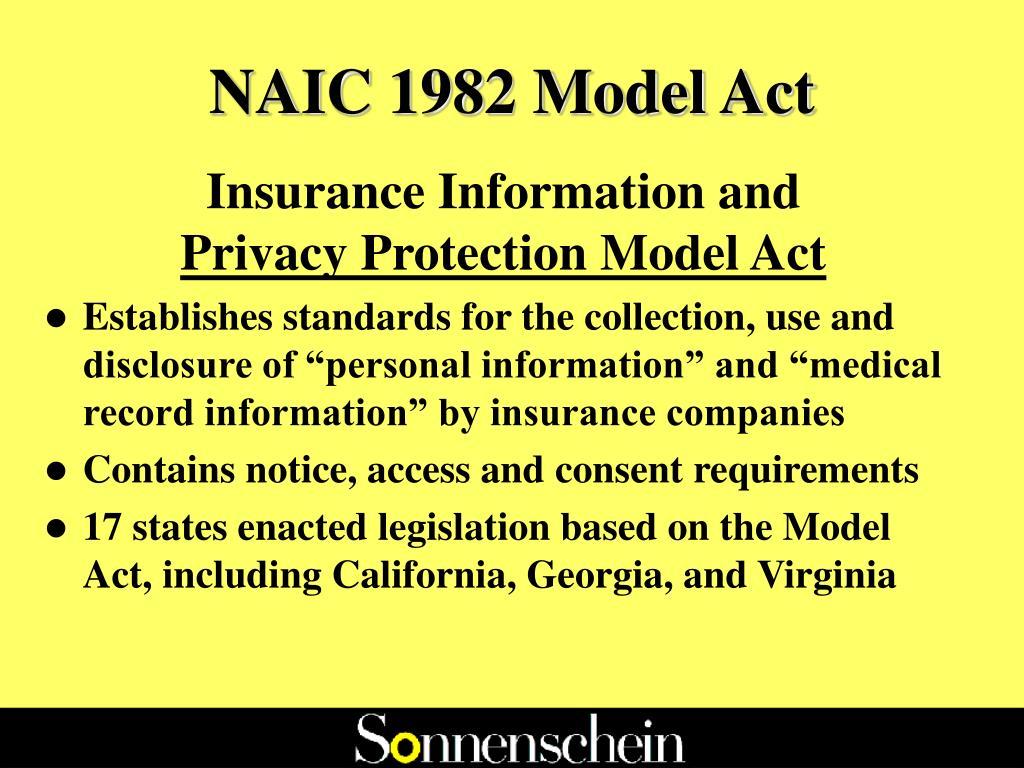 NAIC 1982 Model Act