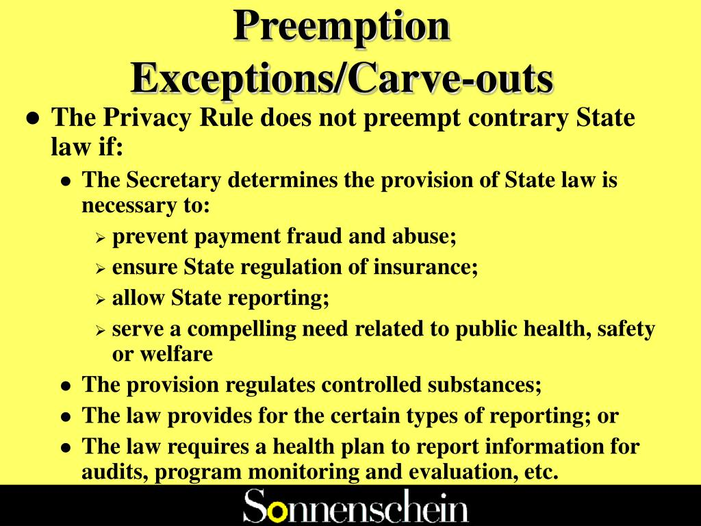 Preemption Exceptions/Carve-outs