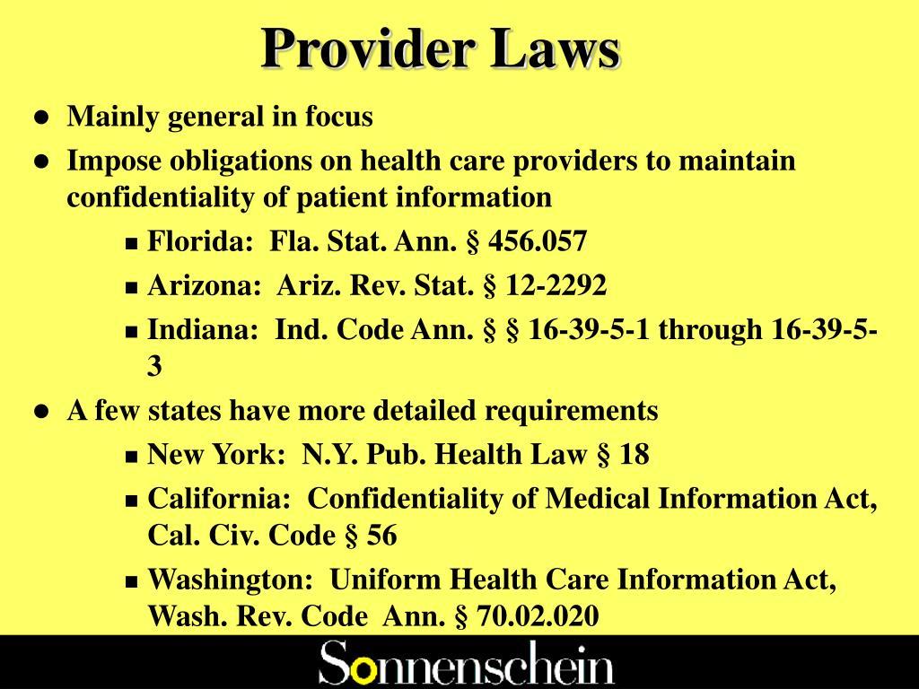 Provider Laws