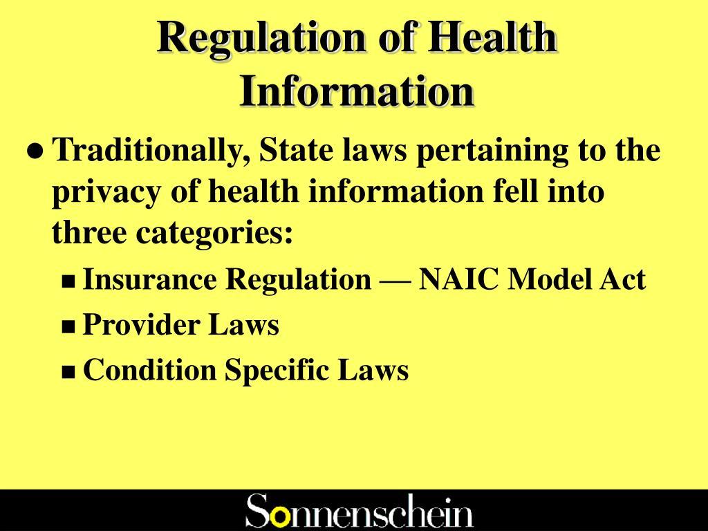 Regulation of Health Information