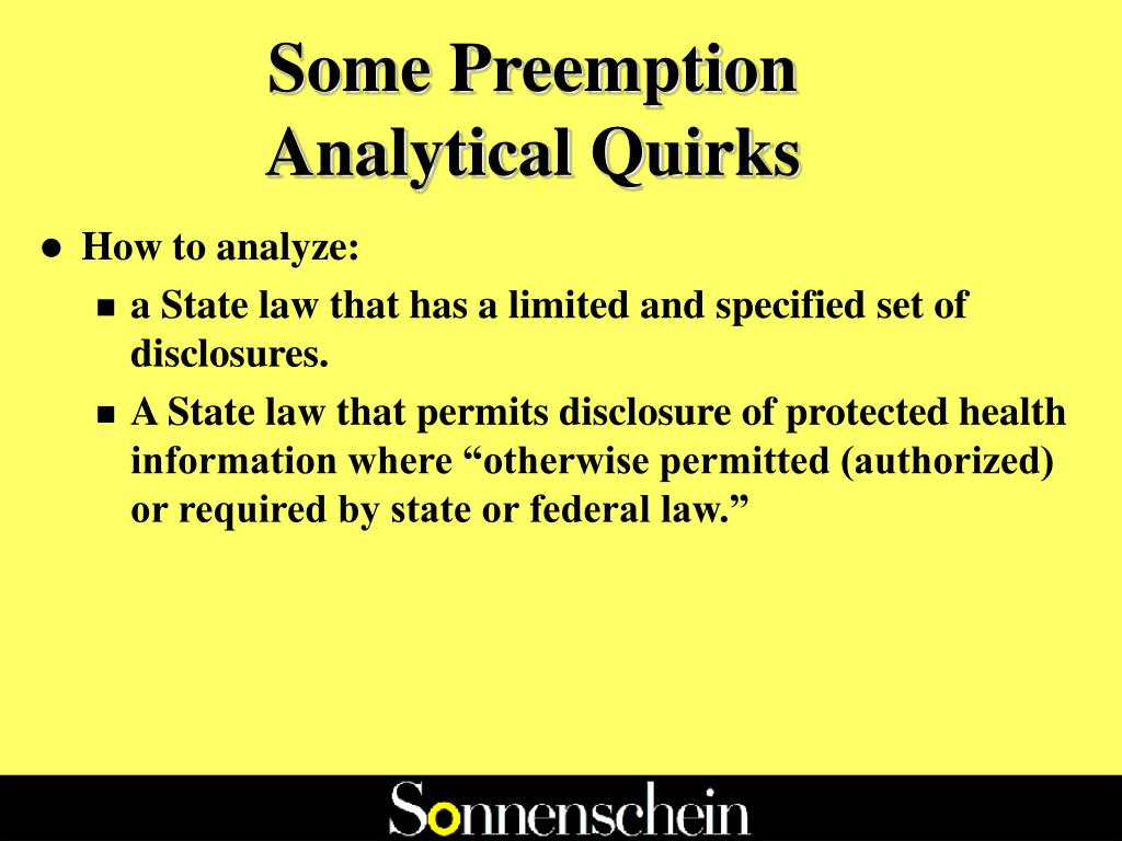 Some Preemption Analytical Quirks