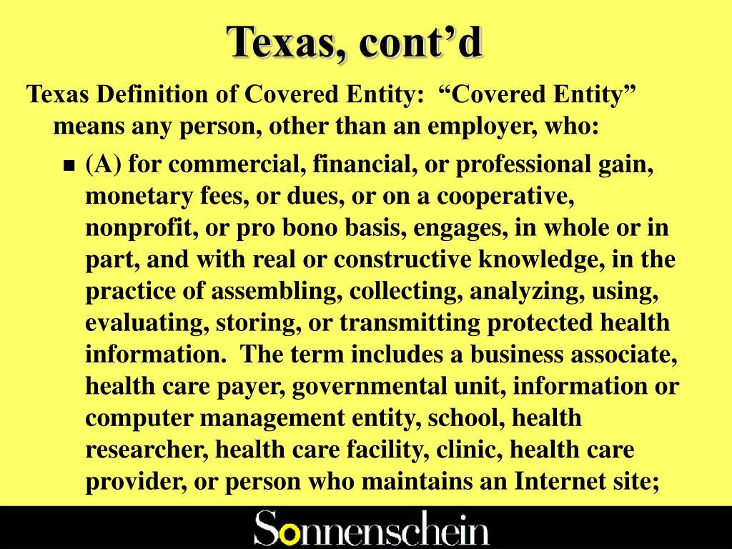Texas, cont'd