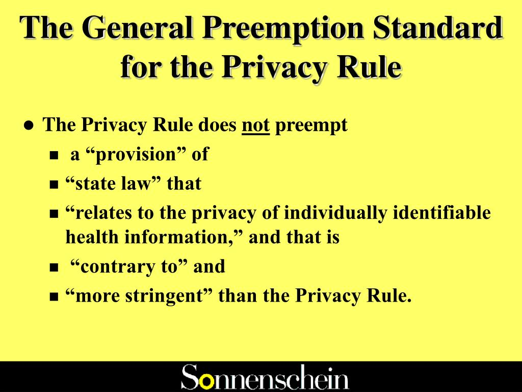 The General Preemption Standard for the Privacy Rule