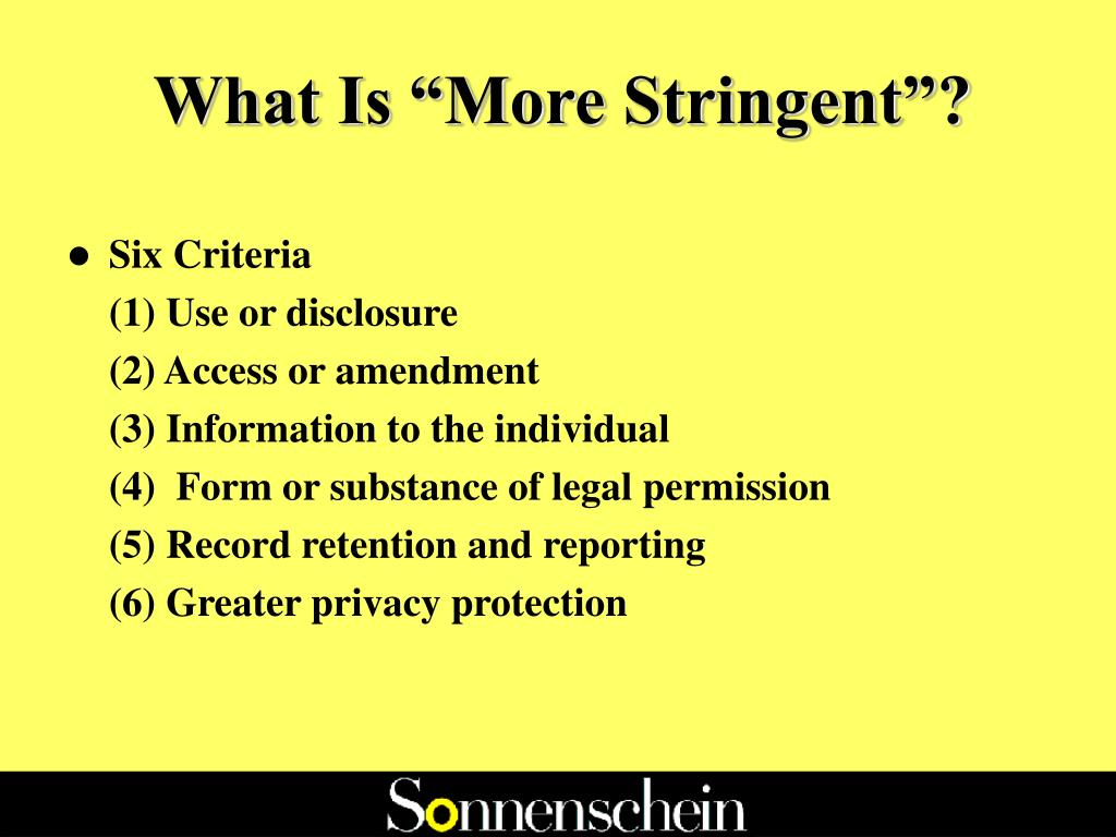"""What Is """"More Stringent""""?"""
