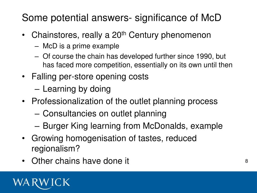 Some potential answers- significance of McD