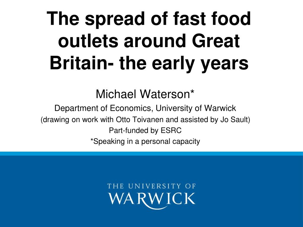 The spread of fast food outlets around Great Britain- the early years