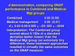 d demonstration comparing snap performance in combined and medical mgt groups