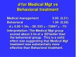 d for medical mgt vs behavioral treatment15