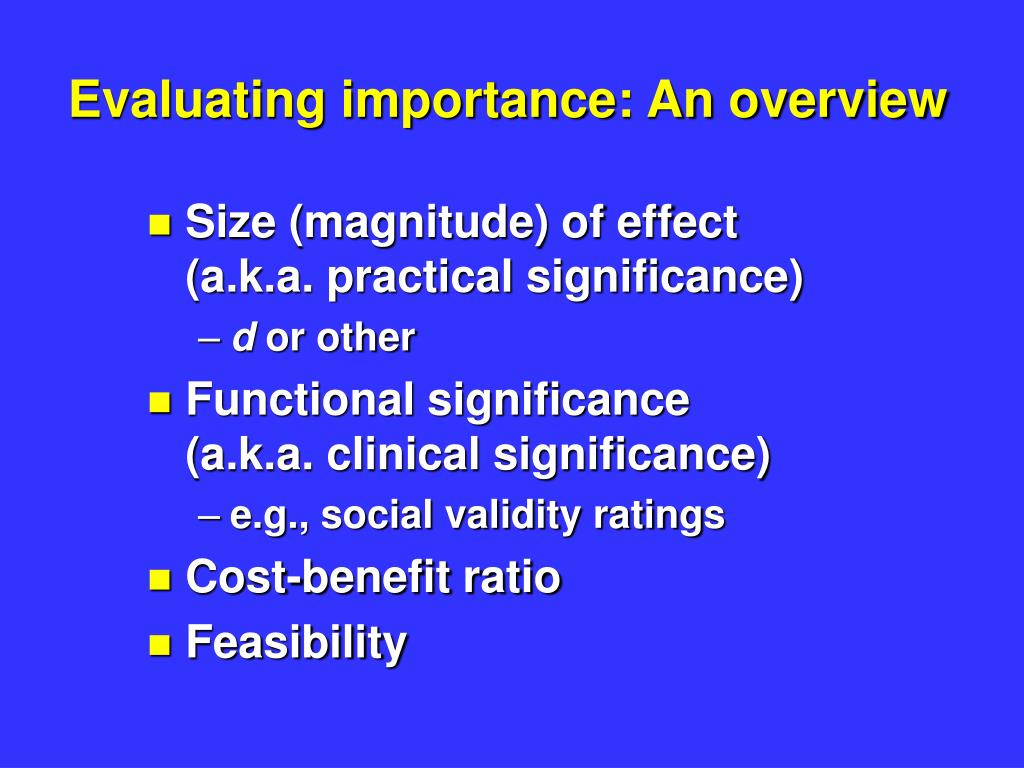evaluating importance an overview