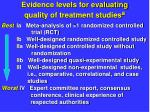 evidence levels for evaluating quality of treatment studies a