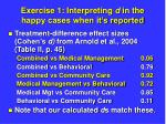 exercise 1 interpreting d in the happy cases when it s reported