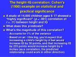 the height iq correlation cohen s 1990 example on statistical and practical significance