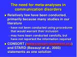 the need for meta analyses in communication disorders