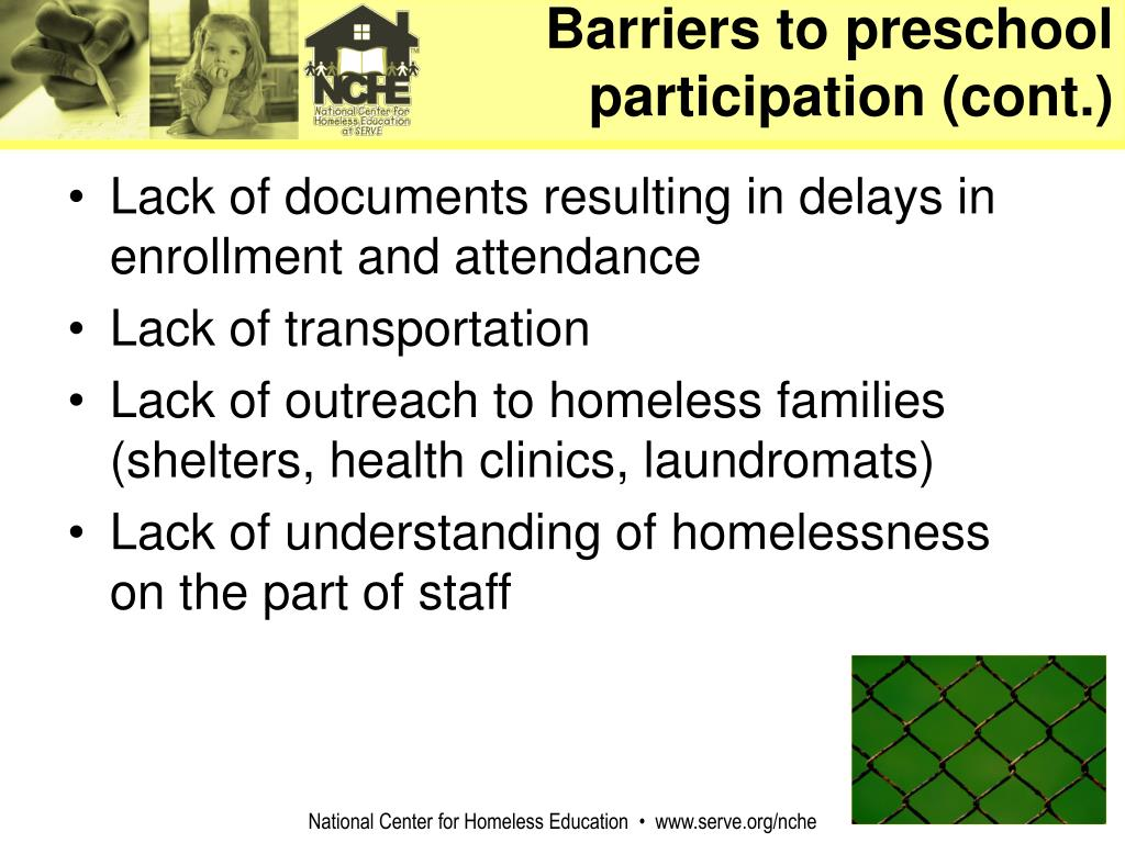 Barriers to preschool participation (cont.)