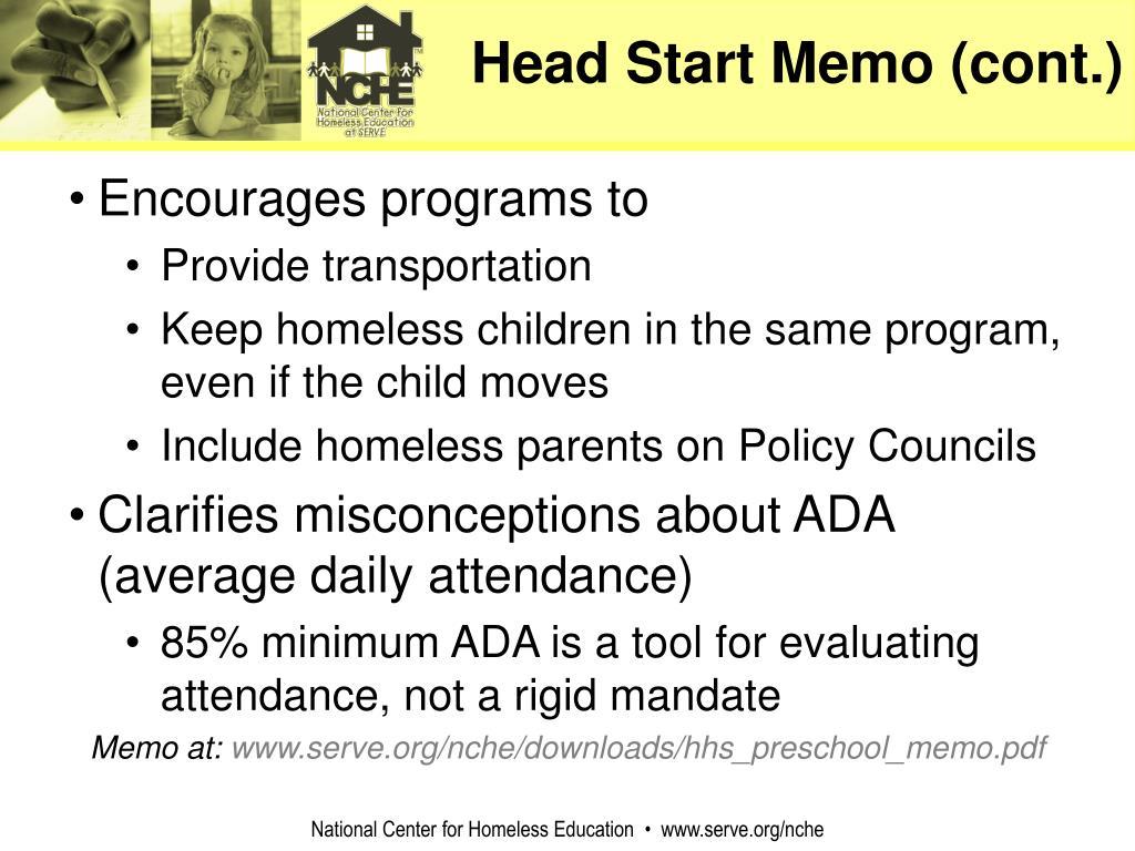 Head Start Memo (cont.)