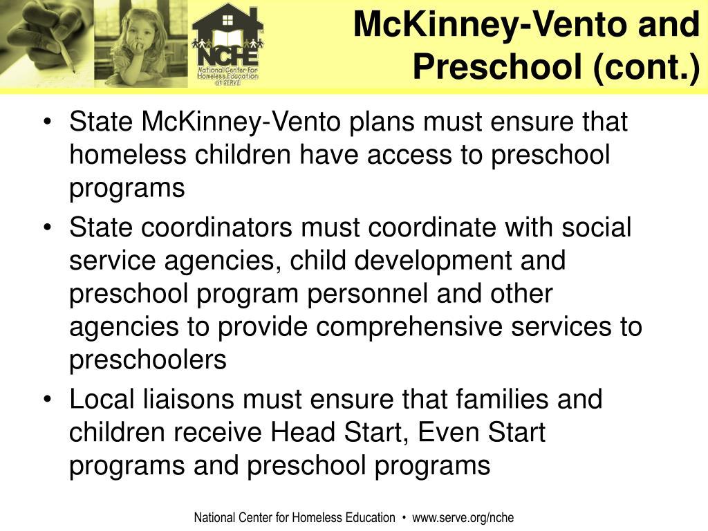 McKinney-Vento and Preschool (cont.)