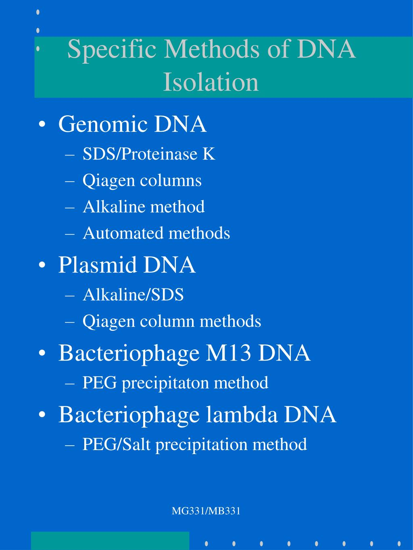 Specific Methods of DNA Isolation