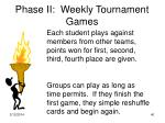phase ii weekly tournament games
