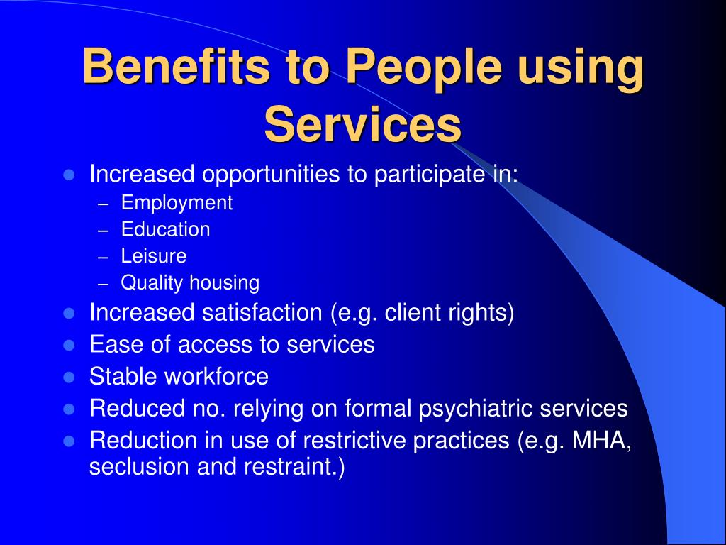 Benefits to People using Services