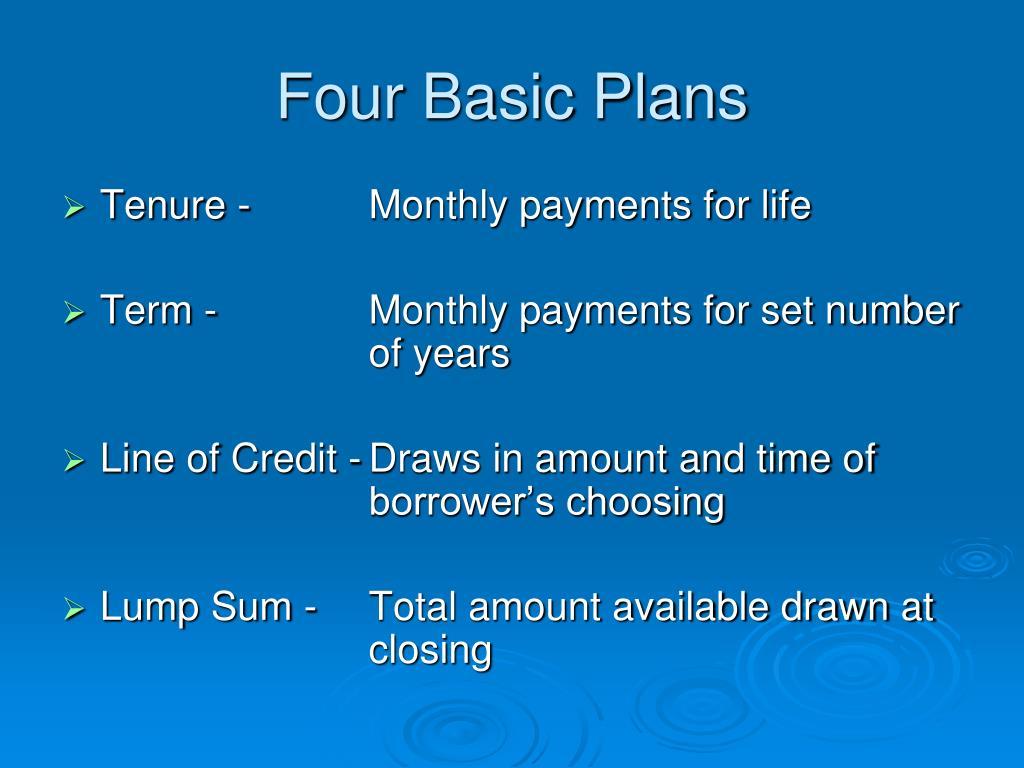 Four Basic Plans