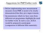 suggestions for pmp further work