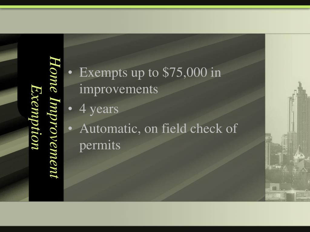 Home Improvement Exemption