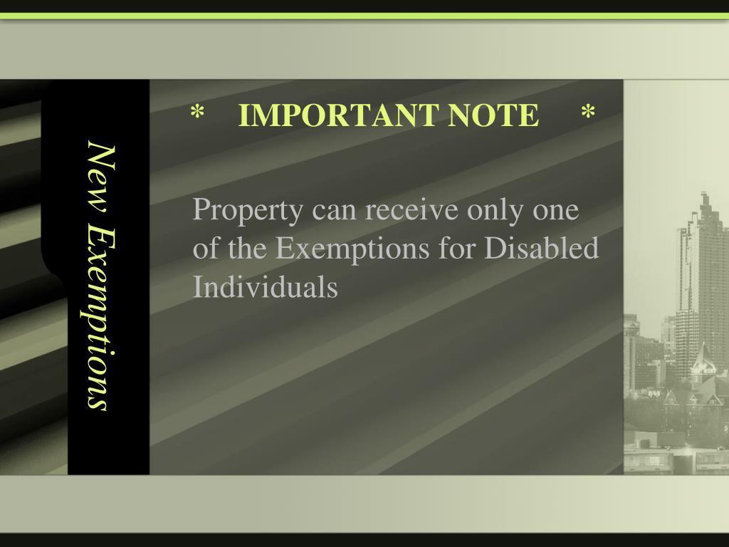 New Exemptions