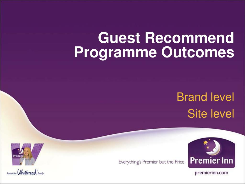 Guest Recommend Programme Outcomes