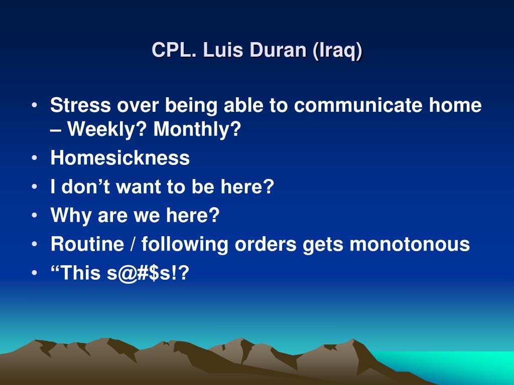 CPL. Luis Duran (Iraq)