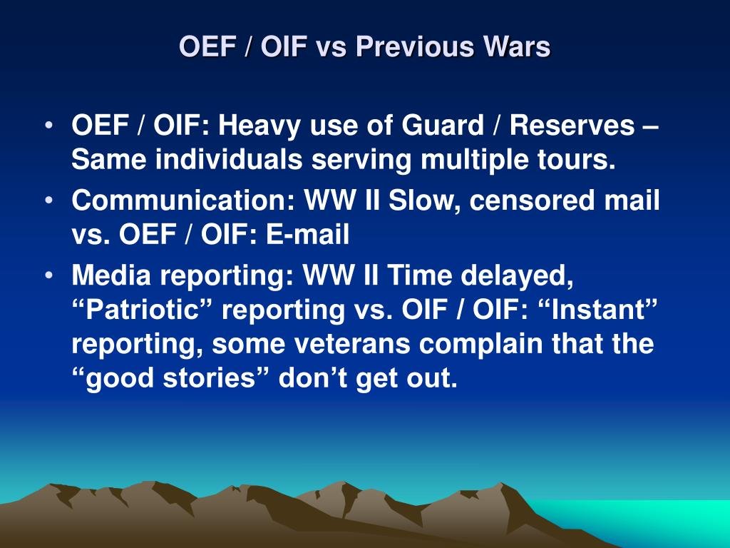 OEF / OIF vs Previous Wars