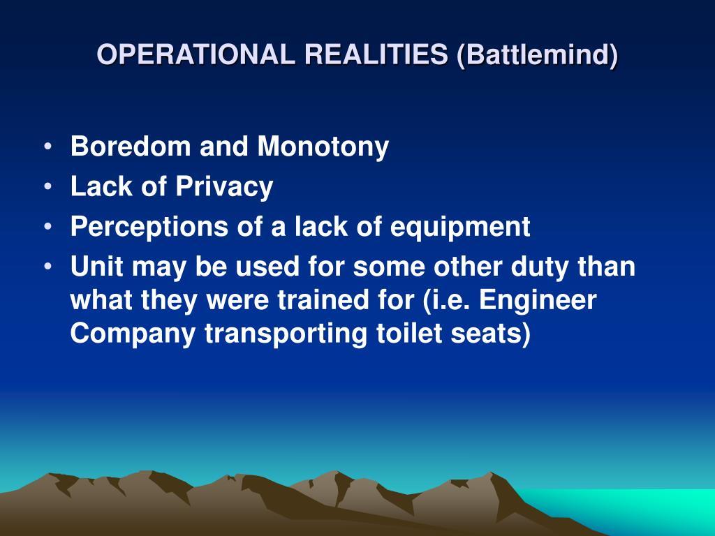 OPERATIONAL REALITIES (Battlemind)