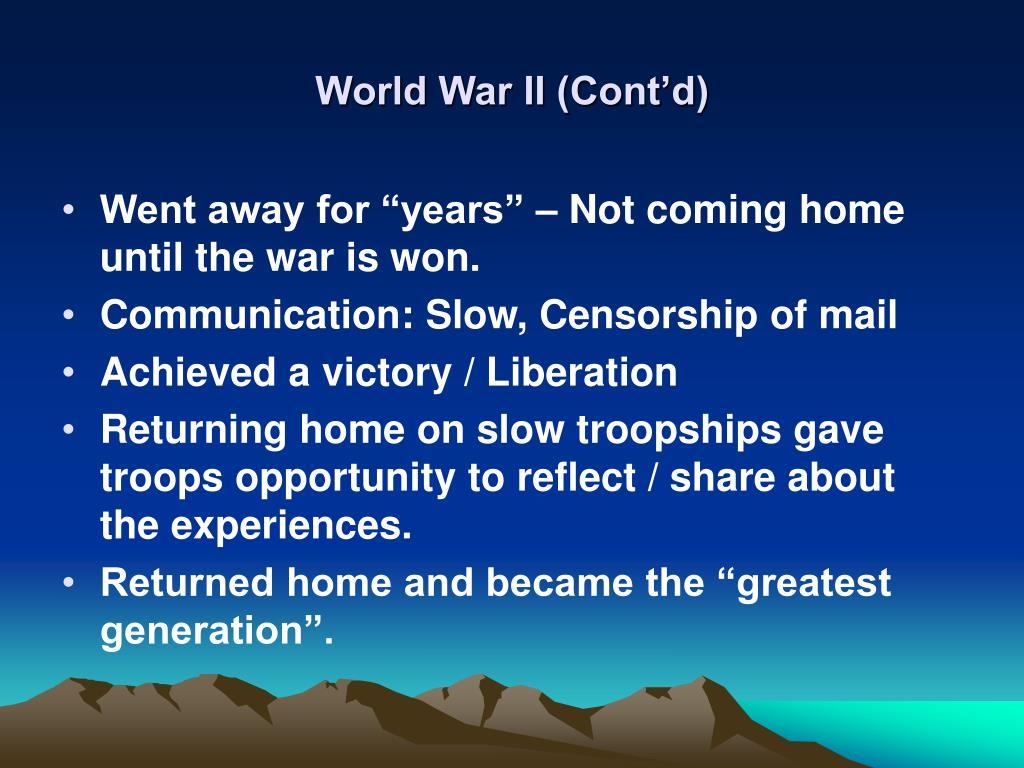 World War II (Cont'd)