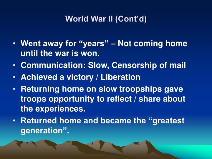 World war ii cont d