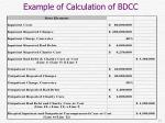 example of calculation of bdcc