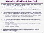 overview of indigent care pool