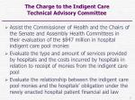 the charge to the indigent care technical advisory committee
