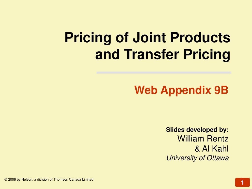 Pricing of Joint Products
