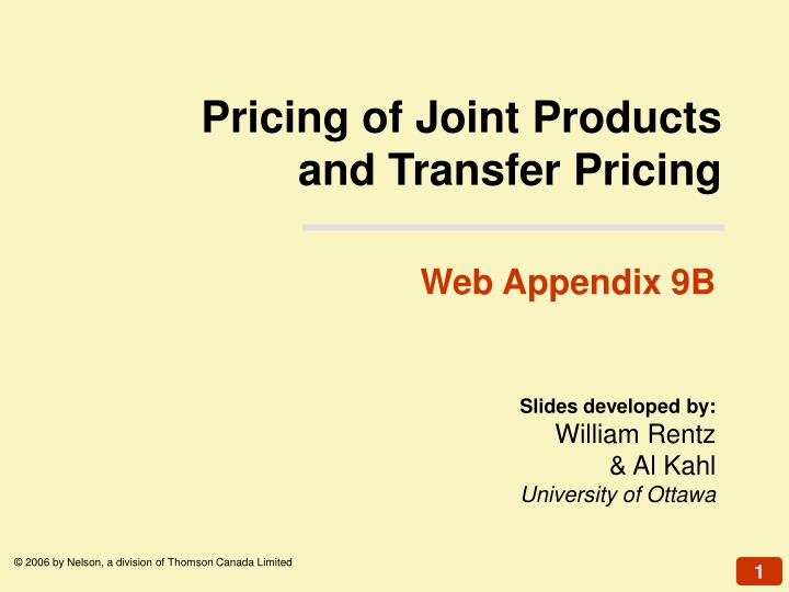 Pricing of joint products and transfer pricing