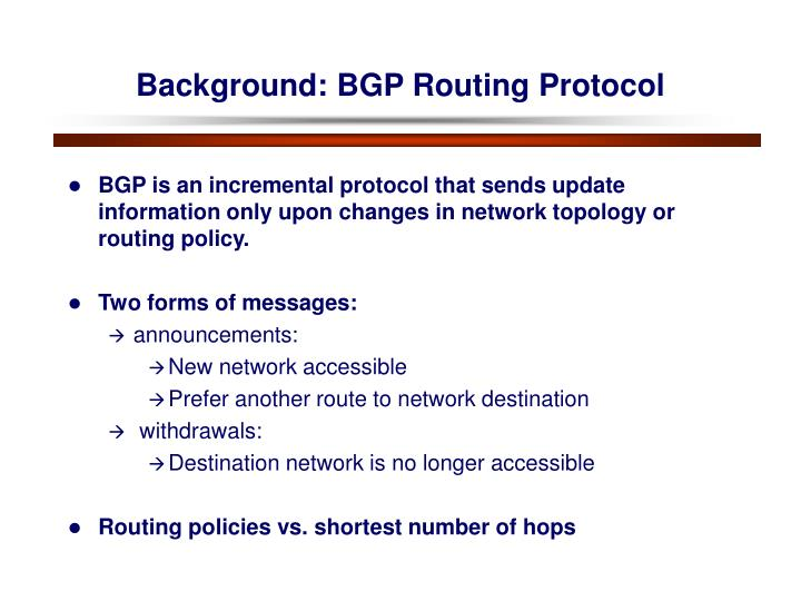 Background: BGP Routing Protocol