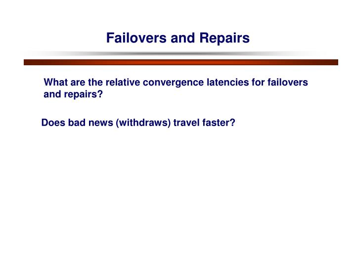 Failovers and Repairs