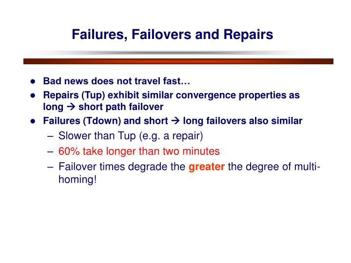 Failures, Failovers and Repairs