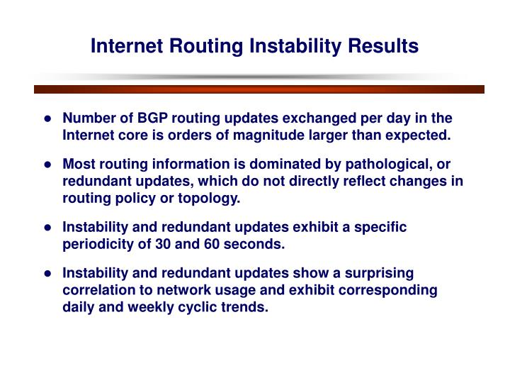 Internet Routing Instability Results