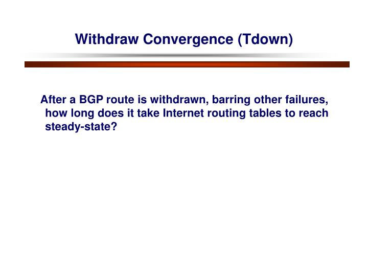 Withdraw Convergence (Tdown)