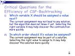 critical questions for the efficiency of csp backtracking50
