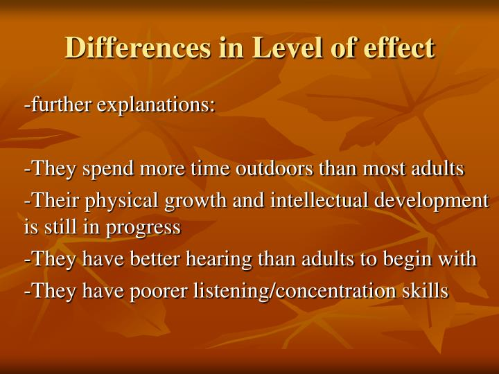 Differences in Level of effect