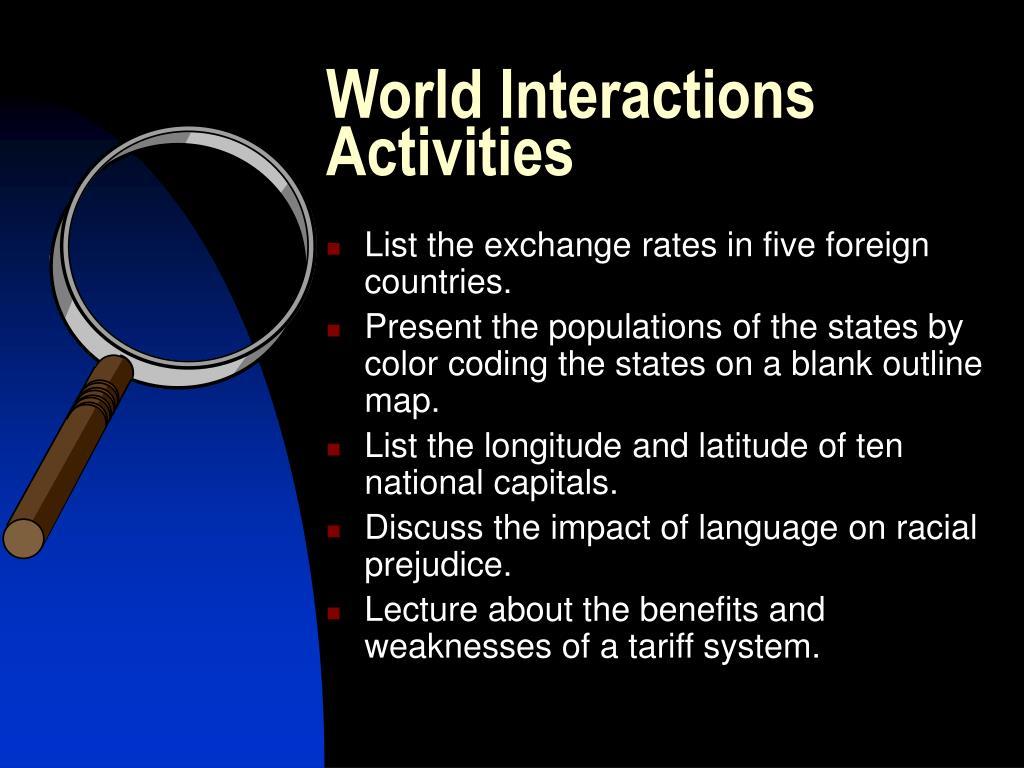 World Interactions Activities