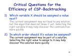 critical questions for the efficiency of csp backtracking48
