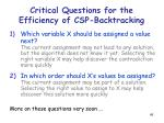 critical questions for the efficiency of csp backtracking49