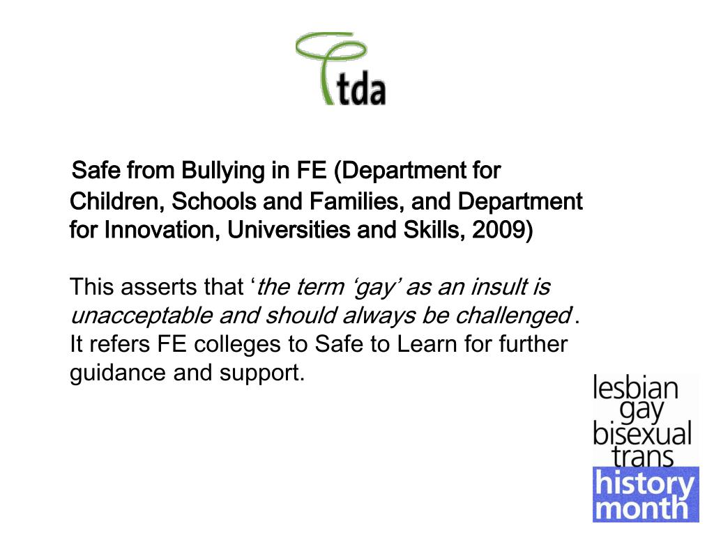 Safe from Bullying in FE (Department for Children, Schools and Families, and Department for Innovation, Universities and Skills, 2009)
