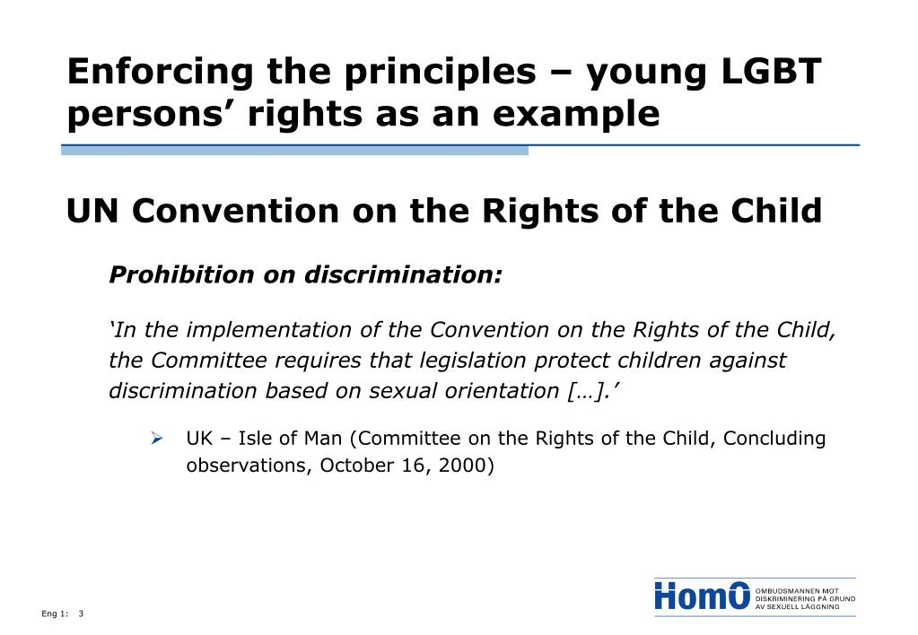Enforcing the principles – young LGBT persons' rights as an example
